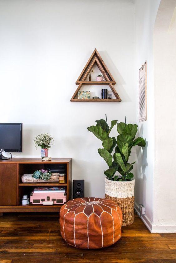 Triangle shelf living room