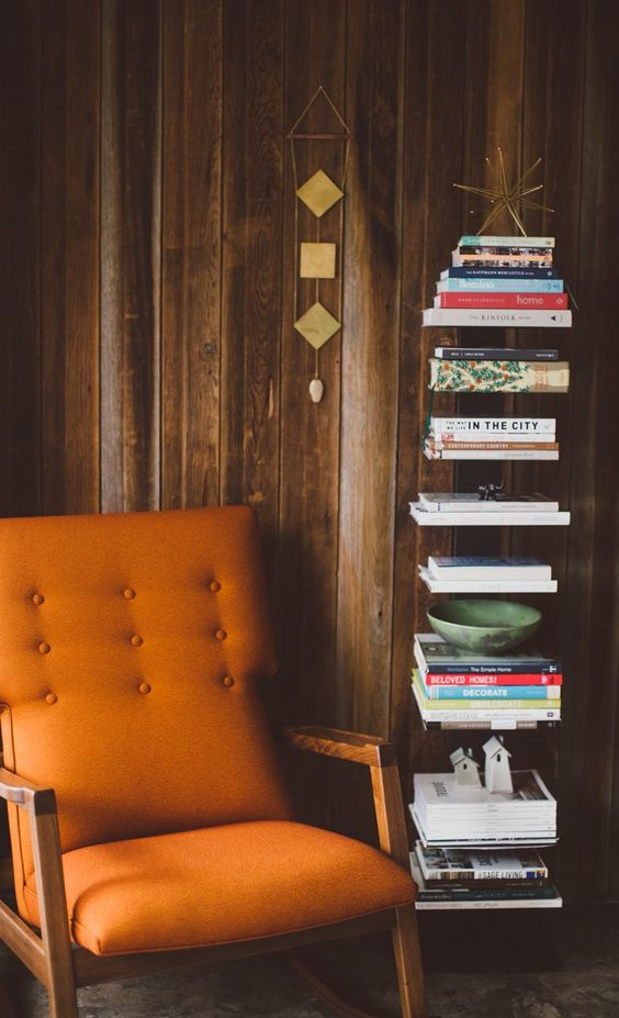 classic chair and book shelf